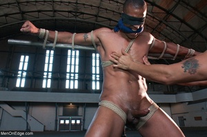 Black lad in blindfold gets flogged whil - XXX Dessert - Picture 6