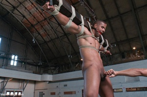Black lad in blindfold gets flogged whil - XXX Dessert - Picture 7