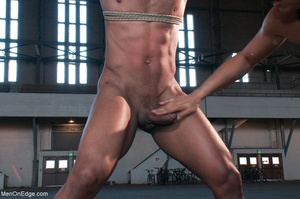 Black lad in blindfold gets flogged whil - XXX Dessert - Picture 9