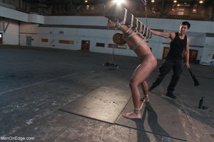 Black lad in blindfold gets flogged whil - XXX Dessert - Picture 10