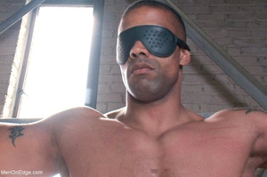 Black lad in blindfold gets flogged whil - XXX Dessert - Picture 13