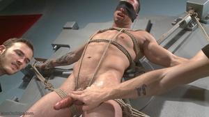 Office clerk in blue shirt gets tied up  - XXX Dessert - Picture 3