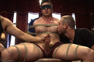 Blindfolded dude with a  muscled body ge - XXX Dessert - Picture 1