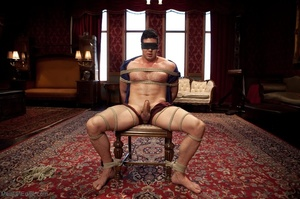 Blindfolded dude with a  muscled body ge - XXX Dessert - Picture 13