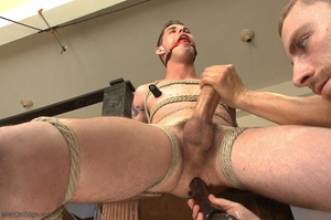 Young gay dude gets tied up and stimulat - XXX Dessert - Picture 10