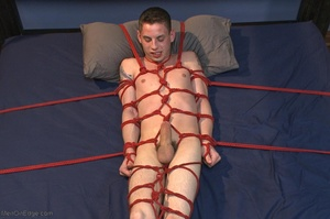 Young gay dude gets tied up and stimulat - XXX Dessert - Picture 18