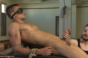 Tied up guy gets his cock worshiped by a - XXX Dessert - Picture 7