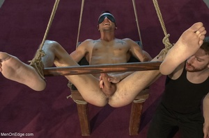 Tied up guy gets his cock worshiped by a - XXX Dessert - Picture 11