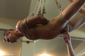Tied up guy gets his cock worshiped by a - XXX Dessert - Picture 13