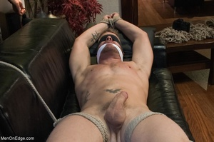 Tied up gay hunk gets used by two horny  - XXX Dessert - Picture 4