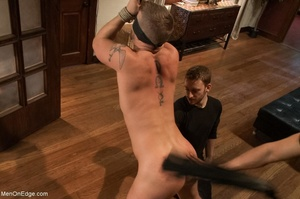 Tied up gay hunk gets used by two horny  - XXX Dessert - Picture 7