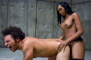 Ebony ladyboy in hot lingerie wears knee - XXX Dessert - Picture 13