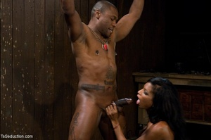 Athletic ebony tranny hangs in the air w - XXX Dessert - Picture 7