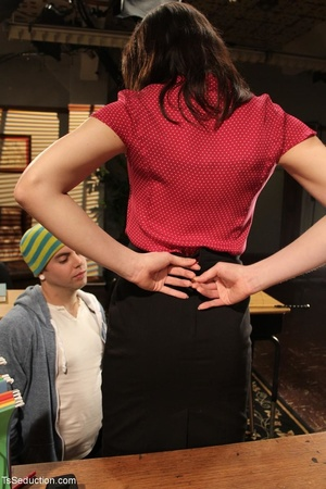 Tranny teacher does things with a male s - XXX Dessert - Picture 6
