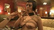 cigar-smoking slave done dildo