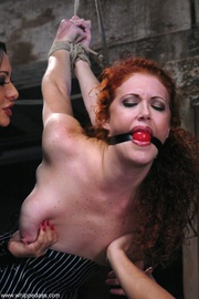 redhead babe gets tied