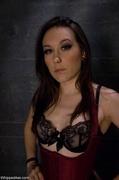 brunette, femdom, strapon, tied up
