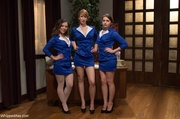 adorable stewardesses organize bdsm