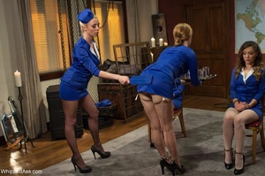 Adorable stewardesses organize BDSM lesb - XXX Dessert - Picture 5