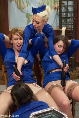 Adorable stewardesses organize BDSM lesb - XXX Dessert - Picture 11