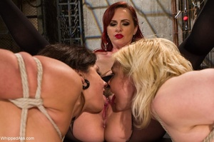 Redhead dominates blonde and brunette wh - XXX Dessert - Picture 11