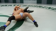 brunette wrestler gets drilled
