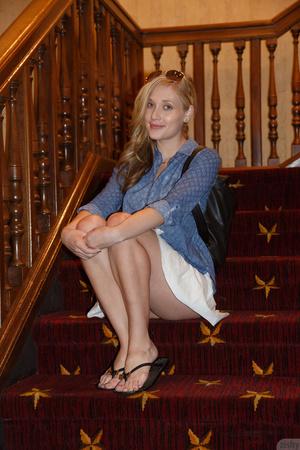 Erotic blonde model in white shoes posin - XXX Dessert - Picture 2