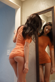luscious brunette gal showing
