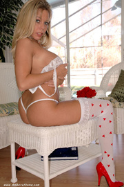 passionate blonde woman showing