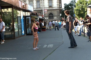 Bound slave is completely nude in public - XXX Dessert - Picture 2