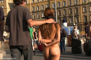 Bound slave is completely nude in public - XXX Dessert - Picture 4