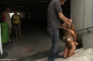 Bound slave is completely nude in public - XXX Dessert - Picture 6