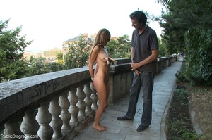 Bound slave is completely nude in public - XXX Dessert - Picture 14
