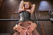 redhead crotchless fishnet stockings