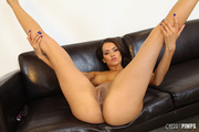 tanned brunette babe spreads