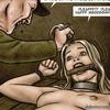 Cruel man enjoys to squeeze his slave girl's swollen belly. Breeders: