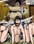 Good looking slave girls get whipped by this chubby mistress. Harem Horror