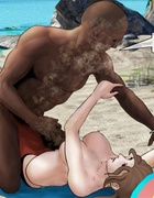Busty cutie gets attacked on the beach by a huge black man. Island Adventure