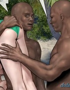 Two black dudes are ready to test this busty white slut right now. Island