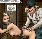 Horny man with with a prosthetic hand is ready to fuck his blonde slave.