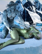 Green lady riding iceman's big dong with pleasure
