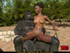 Horny gorilla fucks a super hot ebony army girl so hard