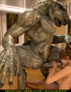 Horny dinosaur fucking a brunette lady at her house