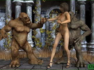 Two savage monsters fucking a busty blonde babe so - Picture 1