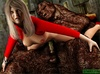 Blonde gal in red gets nailed by a horny monster