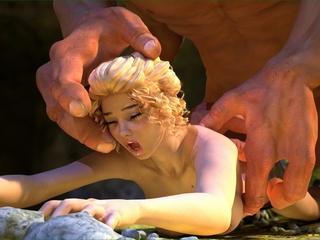 Tiny blonde slut gets wrecked by a horny monster - Picture 1