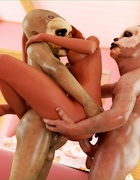 Horny bitch gets her pussy shared by two horny cannibals