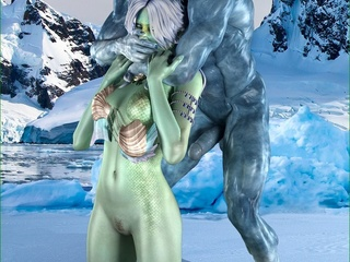 Naughty green lady getting rammed hard by a big blue - Picture 1