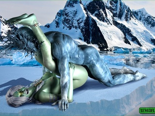 Naughty green lady getting rammed hard by a big blue - Picture 2