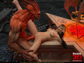 Evil red monster fucking a slutty blonde gal so well - Picture 1